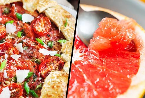 pizza and grapefruit diptych