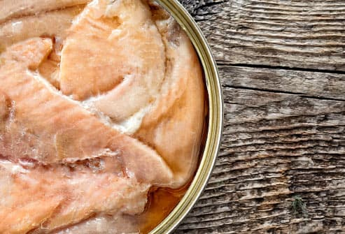 can of salmon close up