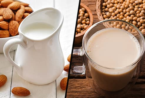 almond milk and soy milk