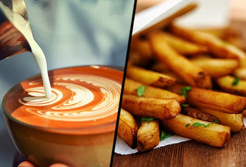 cafe latte and french fries