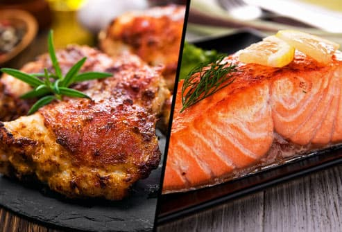 chicken thigh and salmon