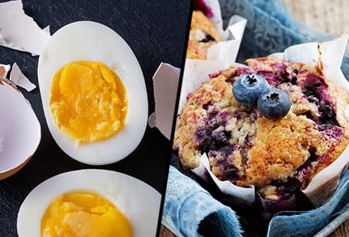 hard boiled egg and blue berry muffin