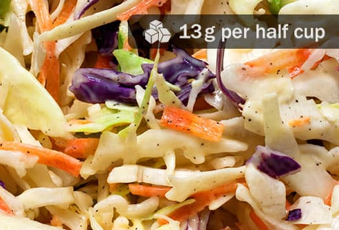 prepackaged cole slaw close up
