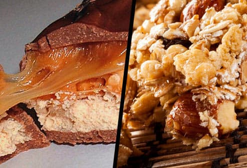 candy bar and granola bar diptych