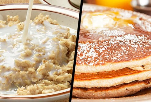 bowl of instant oatmeal and pancakes diptych