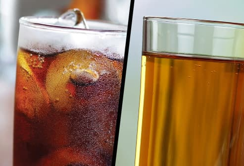 soft drink and apple juice diptych