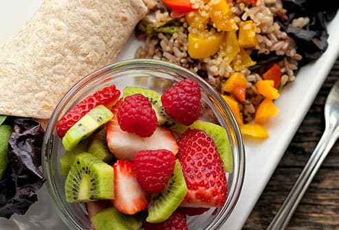 chicken wrap with fruit and rice