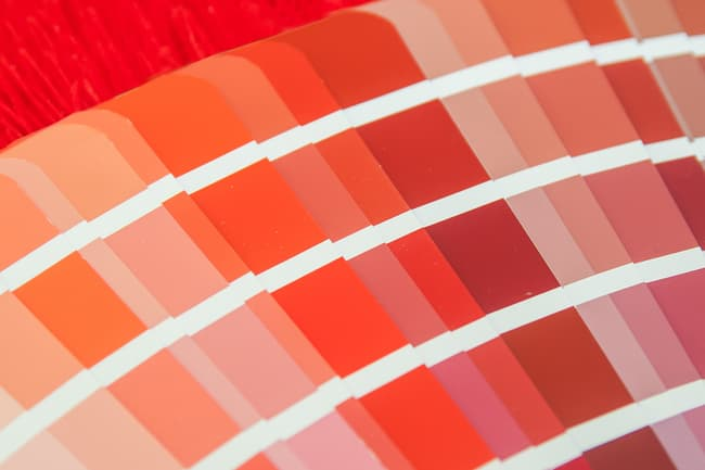 photo of shades of red color swatches