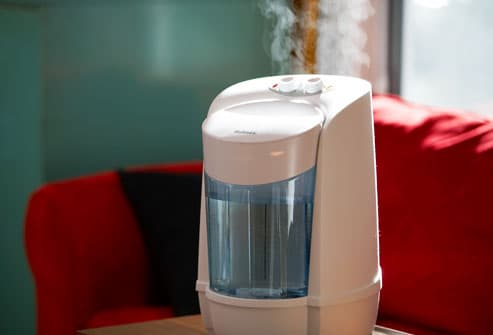 Humidifier sitting on living-room table