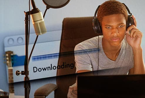 teen downloading music