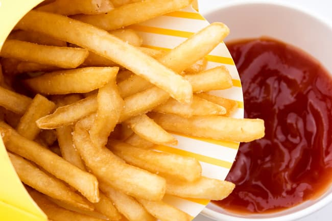 photo of french fries and ketchup