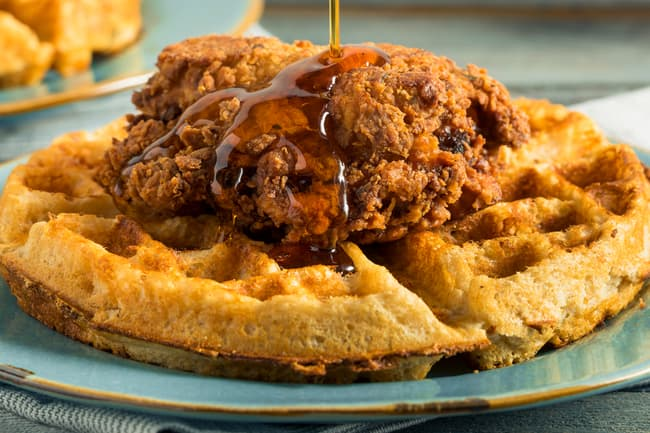 photo of chicken and waffles