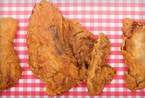 fried chicken on picnic table