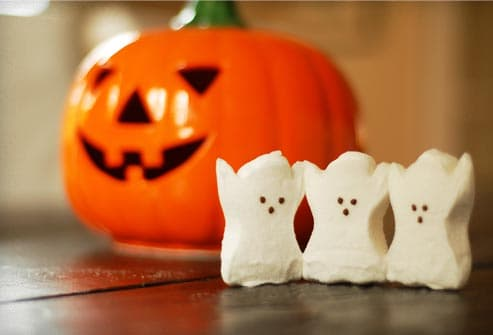candy ghosts and ceramic pumpkin