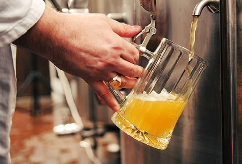 brewery pouring beer