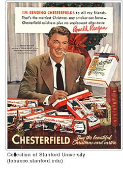 Vintage tobacco ad with Ronald Reagan