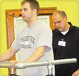 Dan denoon with physical therapist