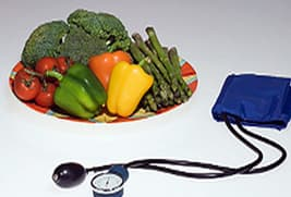 vegetables and blood pressure meter
