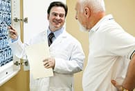doctor patient reviewing scans