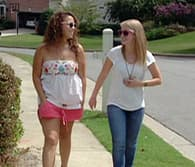 teen girls walking