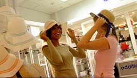 trying on hats