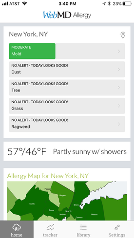 Screenshot for the WebMD Allergy App