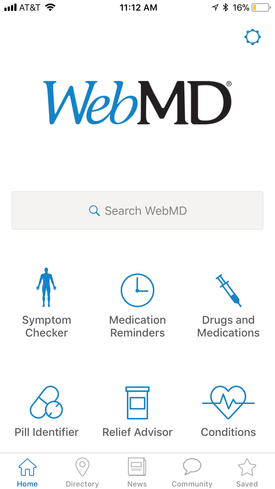 Screenshot of the WebMD App