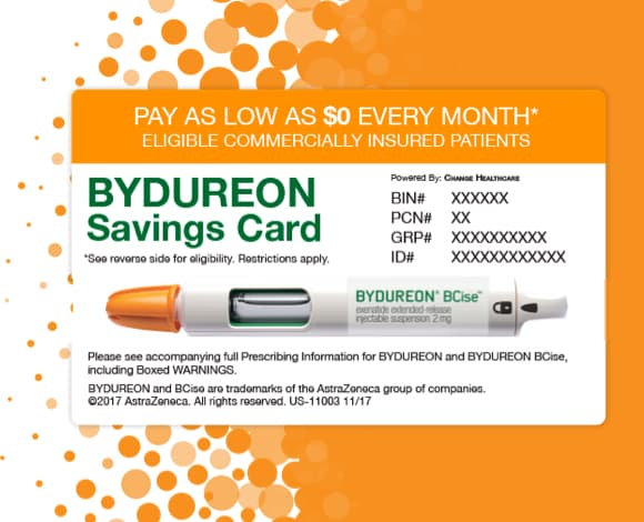 a wallet-sized card with the text BYDUREON Savings Card