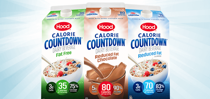 Packages for the three Calorie Countdown® products Fat Free, Reduced Fat Chocolate, and Reduced Fat